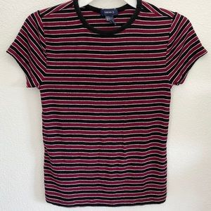 burgandy-black striped short sleeved tee shirt! ♡